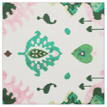 Chic textured green and pink ikat tribal pattern fabric