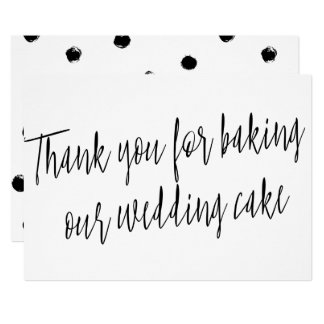 "Chic ""Thank you for baking our wedding cake"" Card"