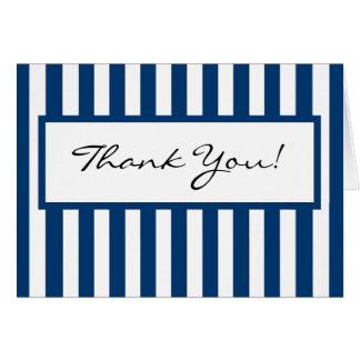 CHIC THANK YOU NOTE_ 158 NAVY/SHITE STRIPES NOTE CARD