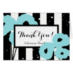 CHIC THANK YOU NOTE_MOD AQUA POPPIES ON STRIPES CARD