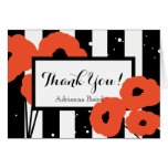 CHIC THANK YOU NOTE_ MOD ORANGE POPPIES ON STRIPES CARD