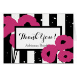 CHIC THANK YOU NOTE_MOD PINK POPPIES ON STRIPES CARD