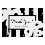 CHIC THANK YOU NOTE_MOD WHITE POPPIES ON STRIPES CARD