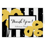 CHIC THANK YOU NOTE_MOD YELLOW POPPIES ON STRIPES CARD