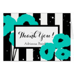 CHIC THANK YOU NOTE_TURQUOISE POPPIES ON STRIPES CARD