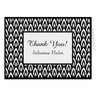 CHIC THANK YOU NOTE_WHITE/BLACK FLAME PATTERN CARD