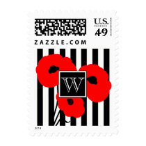 CHIC THANK YOU STAMP_MOD 01 RED POPPIES ON STRIPES POSTAGE