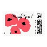 CHIC THANK YOU STAMP_MOD  FLORAL CORAL POPPIES POSTAGE