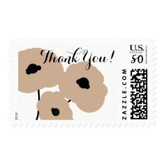 CHIC THANK YOU STAMP_MOD  FLORAL HAZELNUT POPPIES POSTAGE