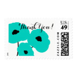 CHIC THANK YOU STAMP_MOD TURQUOISE POPPIES POSTAGE