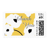 """CHIC """"THANK YOU"""" STAMP_WHITE & BLACK   POPPIES POSTAGE"""