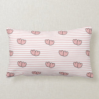 CHIC THROW PILLOW_GIRLY PINK HEARTS/STRIPES LUMBAR PILLOW