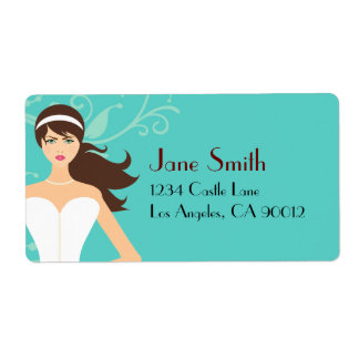Chic Tiffany Blue Bridal Shower [Brunette Bride] Personalized Shipping Labels