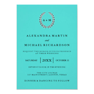 Chic Tiffany Blue with Black and White Wreath Invitation