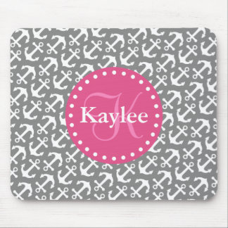 Chic Tilted Anchors Pattern Gray Pink Mouse Pad