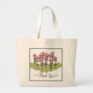 "CHIC TOTE/BAG_""Thank You!"" PINK FLOWERS Large Tote Bag"