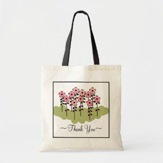 "CHIC TOTE/BAG_""Thank You!"" PINK FLOWERS Tote Bag"