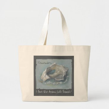 "Beach Themed CHIC TOTE_""I LOVE THE BEACH"" MEMORIES SEA SHELL LARGE TOTE BAG"