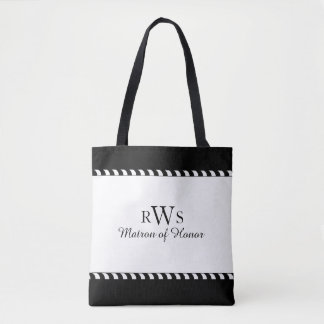 CHIC TOTE_MATRON OF HONOR WEDDING BLACK & WHITE TOTE BAG