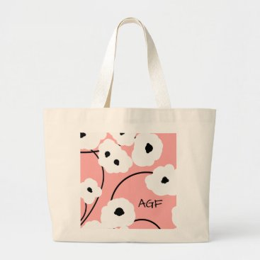 Beach Themed CHIC TOTE_.MOD WH ITE & BLACK POPPIES LARGE TOTE BAG
