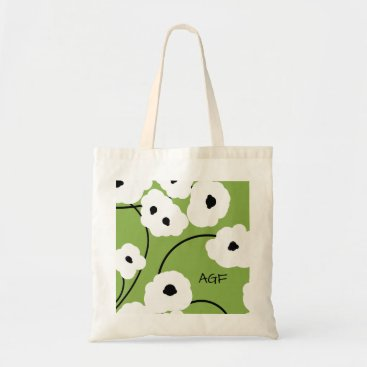 Beach Themed CHIC TOTE_.MOD WH ITE & BLACK POPPIES TOTE BAG