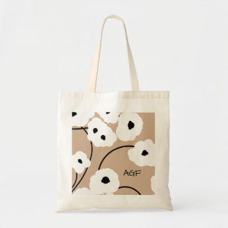 CHIC TOTE_.MOD WH ITE & BLACK POPPIES TOTE BAG