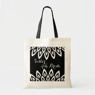 """CHIC TOTE_MODERN """"Sister_"""" WHITE  FLORAL ON BLACK Budget Tote Bag"""