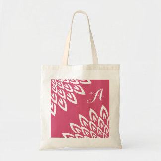 CHIC TOTE_MODERN WHITE FLORAL ON BERRY PINK TOTE BAG