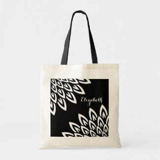 CHIC TOTE_MODERN WHITE FLORAL ON BLACK TOTE BAG