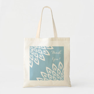 CHIC TOTE_MODERN WHITE FLORAL ON BLUE BUDGET TOTE BAG