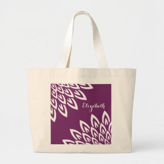 CHIC TOTE_MODERN WHITE FLORAL ON GRAPE LARGE TOTE BAG