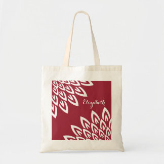 CHIC TOTE_MODERN WHITE FLORAL ON RED TOTE BAG