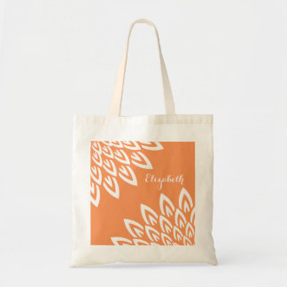 CHIC TOTE_MODERN WHITE FLORAL ON TANGERINE TOTE BAG