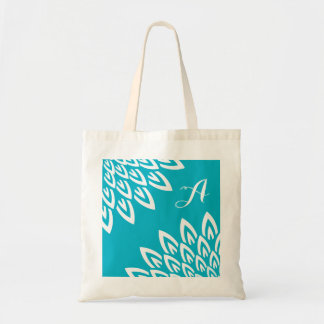 CHIC TOTE_MODERN WHITE FLORAL ON TURQUOISE TOTE BAG