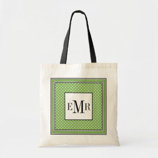 CHIC TOTE_WHITE DOTS ON 75 GREEN BUDGET TOTE BAG
