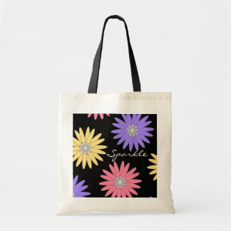 CHIC TRAVEL/BAG TAG_SPARKLE_FLOWERS/DIAMONDS TOTE BAG