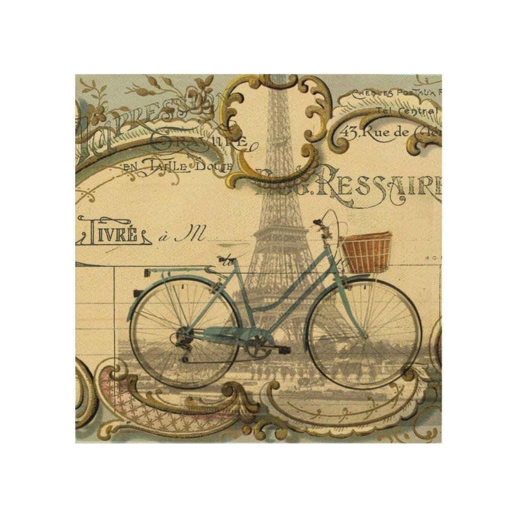chic traveller vintage bicycles paris eiffel tower wood wall art
