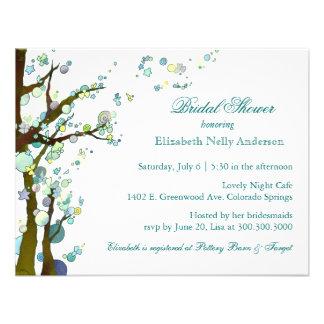 Chic Tree Theme White Bridal Shower Invitations