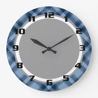 Chic & Trendy Blue Tartan Plaid Patten Large Clock