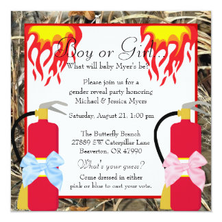 Chic Trendy Camo Fire Fighter Damask Gender Reveal Card