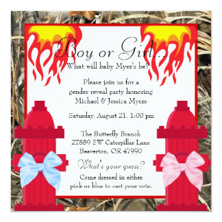 Chic Trendy Fire Fighter Camo Gender Reveal Card