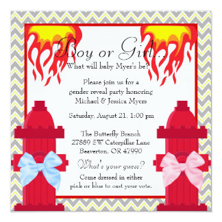 Chic Trendy Fire Fighter Chevron Gender Reveal Card
