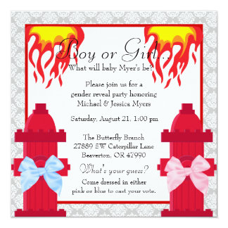 Chic Trendy Fire Fighter Damask Gender Reveal Card