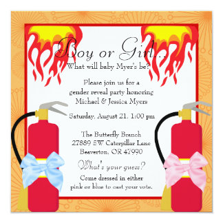 Chic Trendy Fire Fighter Gender Reveal Card