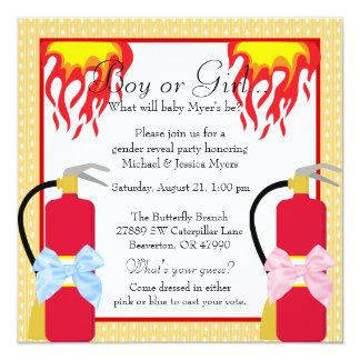 Chic Trendy Fire Fighter Polk-A-Dot Gender Reveal Card