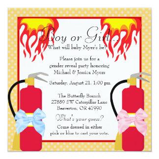Chic Trendy Fire Fighter Polka-Dot Gender Reveal Card