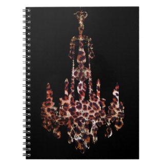 chic trendy girly leopard print chandelier spiral note book
