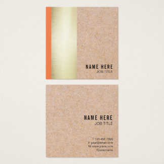 Chic Trendy Gold Stripe Kraft Square Business Card