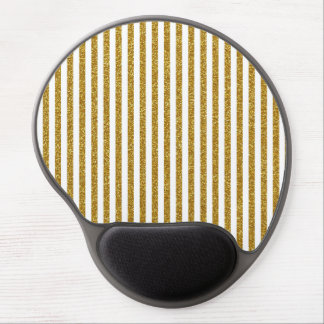 Chic Trendy Gold White Stripes Glitter Photo Print Gel Mouse Pad