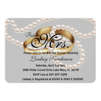 Chic Trendy Gray  Rings With Pearls Bridal Invite